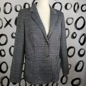 Vintage Tweed Houndstooth Plaid Blazer
